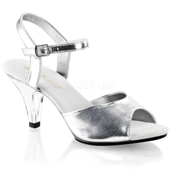 BELLE-309 Klassische Sandalette mit Riemchen silber Kunstleder